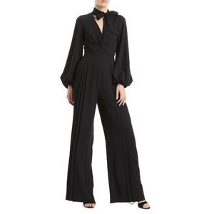 ML MONIQUE LHUILLIER Black Pleated Jumpsuit
